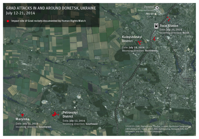 Grad attacks documented by Human Rights Watch in and around Donetsk, Ukraine from July 12 - 21, 2014. source HRW